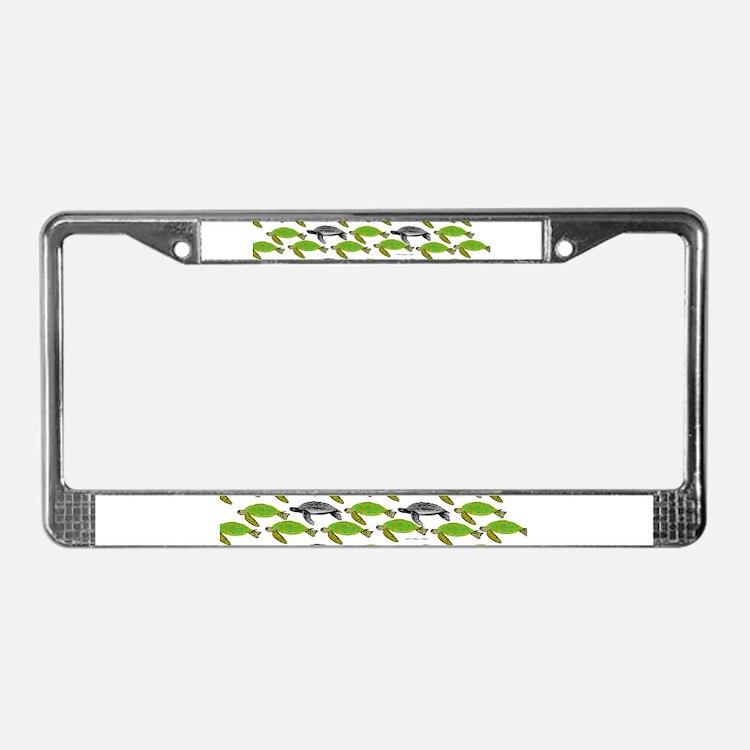 School of Sea Turtles v2sq License Plate Frame