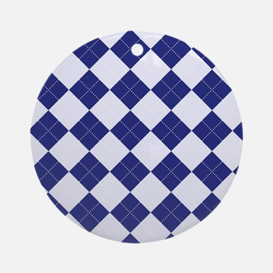 Argyle in Blue Ornament (Round)
