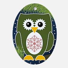 Holiday Christmas Owl Ornament (oval)