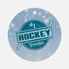#1 Hockey Grandpa Christmas Tree Ornament (round)