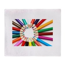 Colored Pencils Throw Blanket