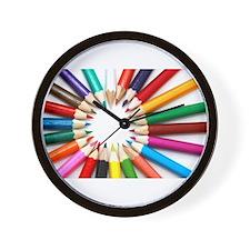 Colored Pencils Wall Clock