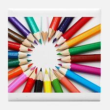 Colored Pencils Tile Coaster