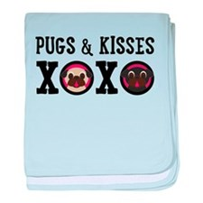 Pugs & Kisses With Black Text baby blanket