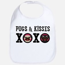 Pugs & Kisses With Black Text Bib