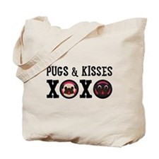 Pugs & Kisses With Black Text Tote Bag