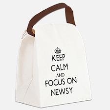 Keep Calm and focus on Newsy Canvas Lunch Bag