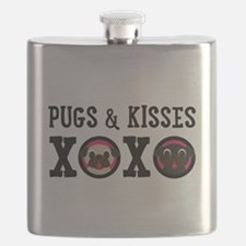Pugs & Kisses With Black Text Flask