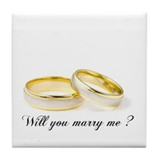 wedding bands Will you marry me? Tile Coaster