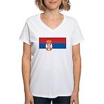 Serbia Flag Women's V-Neck T-Shirt
