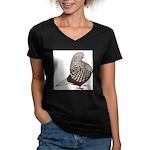 Brown Teager Pigeon Women's V-Neck Dark T-Shirt
