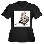 Brown Teager Pigeon Women's Plus Size V-Neck Dark