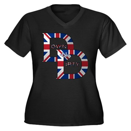Patriotic British DND Logo Women's Plus Size V-Nec
