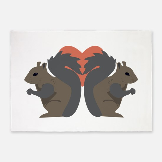 Squirrel Love 5'x7'Area Rug