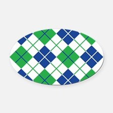 Argyle Design in Blue and Green Oval Car Magnet