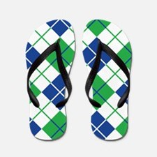Argyle Design in Blue and Green Flip Flops