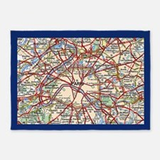 Map of Paris France 5'x7'Area Rug