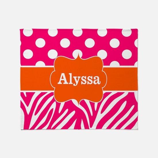 Pink Orange Zebra Dots Monogram Throw Blanket