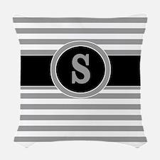 Gray Black Stripes Monogram Woven Throw Pillow