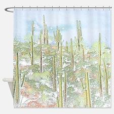Many Saguaros Recreated Shower Curtain