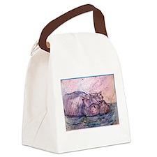 Hippo, wildlife art Canvas Lunch Bag
