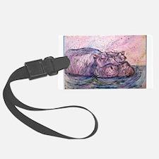 Hippo, wildlife art Luggage Tag