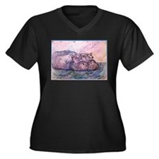 Hippo, wildlife art Plus Size T-Shirt