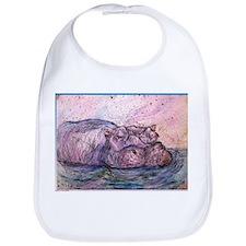 Hippo, wildlife art Bib