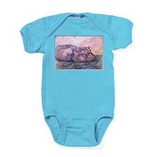 Hippo, wildlife art Baby Bodysuit