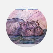 Hippo, wildlife art Ornament (Round)