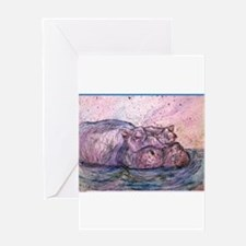 Hippo, wildlife art Greeting Cards