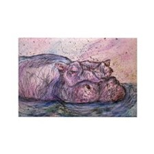 Hippo, wildlife art Magnets