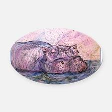 Hippo, wildlife art Oval Car Magnet