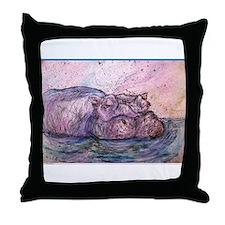 Hippo, wildlife art Throw Pillow
