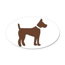 dog brown 1C Oval Car Magnet