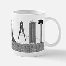 Masonic Working tools in grayscale Mug