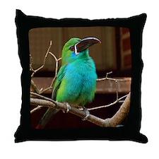 Perched Green Bird Throw Pillow