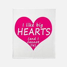 I Like Big Hearts Throw Blanket