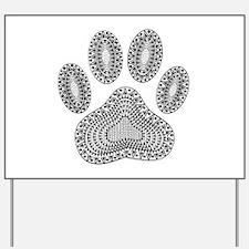 Tribal Dog Paw Print Yard Sign