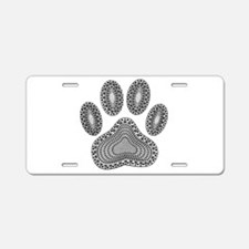 Tribal Dog Paw Print Aluminum License Plate