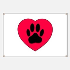 Red Heart With Dog Paw Print Banner