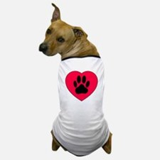 Red Heart With Dog Paw Print Dog T-Shirt