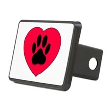 Red Heart With Dog Paw Pri Hitch Cover