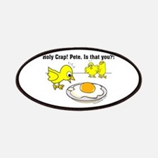 Holy Crap Pete Chick Egg Cartoon Patches