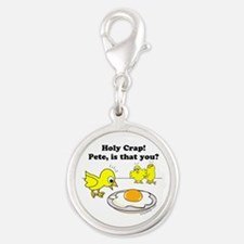 Holy Crap Pete Chick Egg Cartoon Round Charms