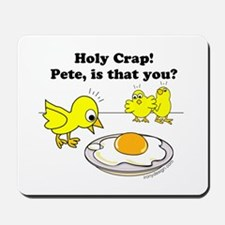 Holy Crap Pete Chick Egg Cartoon Round Mousepad
