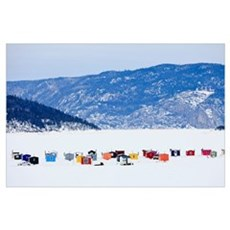 Ice Fishing Huts On Saguenay River, Saguenay Lac-S Poster