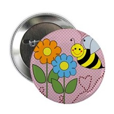 "Bumble Bees Flowers Hearts 2.25"" Button (10 pack)"