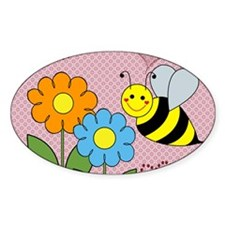 Bumble Bees Flowers Hearts Decal