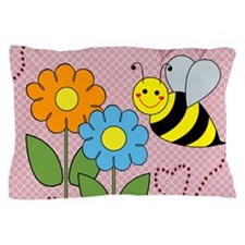 Bumble Bees Flowers Hearts Pillow Case